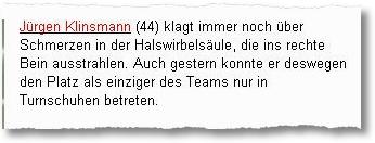 Klinsmann Rückenschmerzen