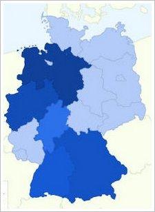 Deutschlandkarte mit Gripeindikatoren